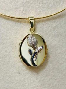 Medallion zum öffnen für Fotos, Rose in Weissgold mit Brillanten und Safiren, Anfertigung für Kunden
